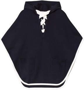 Chloé Navy Hoodie Knitted Cape
