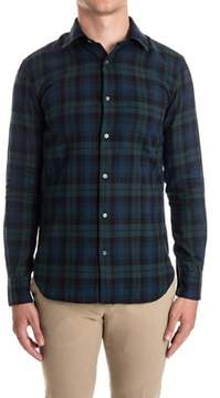 Aspesi Men's Blue/green Cotton Shirt.