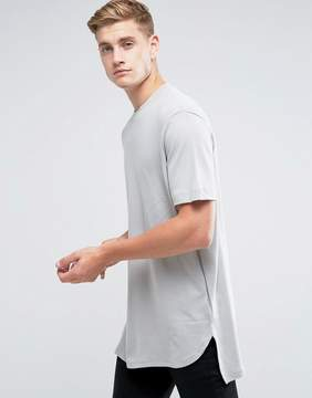 Kiomi Longline Heavyweight T-Shirt With Step Hem In Khaki