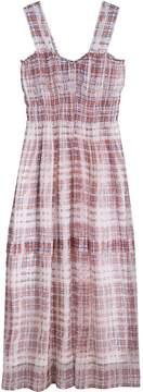 Burberry Gathered Scribble Check Silk Dress