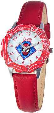 Marvel Spiderman Tween Red Leather Strap Watch