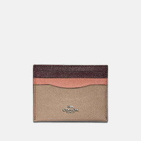 COACH Coach Flat Card Case In Colorblock - SILVER/STONE/MELON MULTI - STYLE