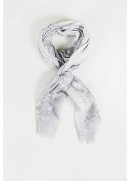Stella McCartney Pre-owned Gray Cashmere Blend python Print Fringe Trim Scarf.