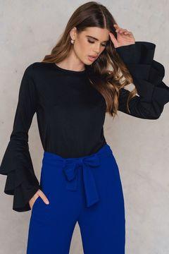 NA-KD Triple Flounce Sleeve Sweater