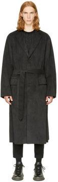 Miharayasuhiro Black Faux-Suede Gown Coat