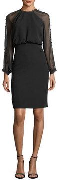 Badgley Mischka Sheer Button-Detail Long-Sleeve Dress