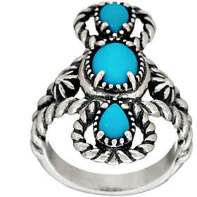 American West Sleeping Beauty Turquoise ThreeStone Ring