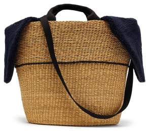 Muun Geraldine Shearling And Woven Straw Bag - Womens - Navy