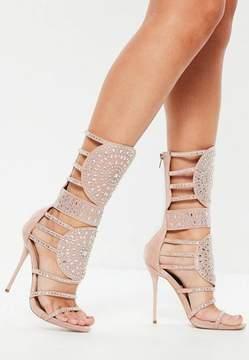 Missguided Pink Calf Heigh Embellished Sandals