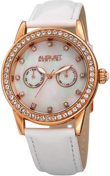 August Steiner Womens White Strap Watch-As-8234wt