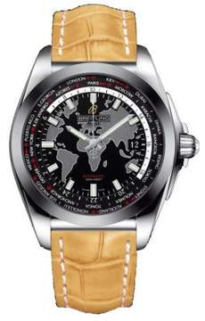 Breitling Galactic Unitime Black Dial Camel Leather Men's Watch WB3510U4-BD94CMCD