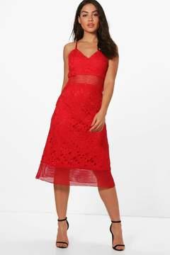 boohoo Boutique Lace Midi Skater Dress
