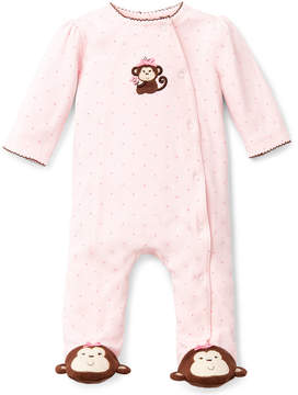 Little Me Baby Girls' Pretty Monkey Footed Coverall