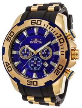 Invicta Men's Pro Diver Chrono Black Silicone Blue Dial 18K Gold Plated SS