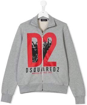DSQUARED2 Teen logo print zipped sweatshirt