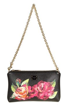 Dolce & Gabbana Micro Bag In Floral Printed Leather - BLACK - STYLE