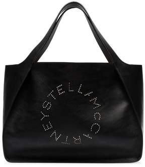 Stella McCartney black logo small PU tote