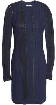 3.1 Phillip Lim Two-Tone Pointelle-Paneled Open-Knit Mini Dress