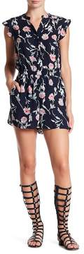 Collective Concepts Ruffle Sleeve Button Up Romper