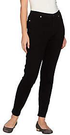 Isaac Mizrahi Live! Petite Knit Denim AnkleJeans w/ Zipper