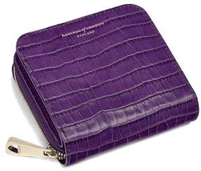 Aspinal of London Mini Continental Zipped Coin Purse In Deep Shine Amethyst Small Croc