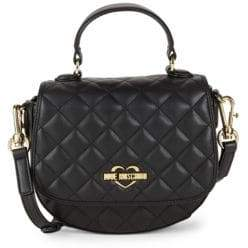 Love Moschino Quilted Faux Leather Top Handle Bag