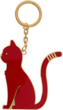 Thom Browne Black and Red Thom Cat Keychain