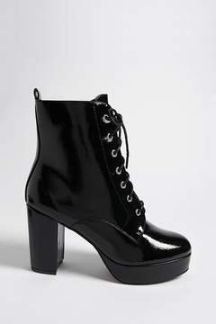 Forever 21 Textured Faux Patent Leather Combat Boots