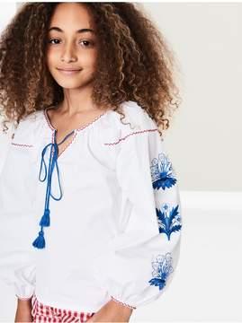 Oscar de la Renta Kids Kids | Embroidered Cotton-Poplin Blouse | 8 years