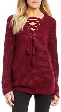 Chelsea & Violet C&V Lace-Up V Neck Sweater