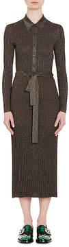 Prada Women's Metallic Rib-Knit Shirtdress