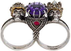 Alexander McQueen King & Queen gem double ring
