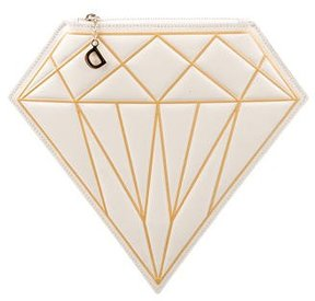 Charlotte Olympia Leather D-Diamond Clutch w/ Tags