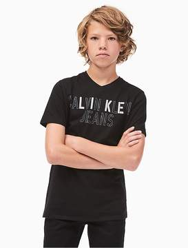 Calvin Klein Jeans Boys Ckj Logo V-Neck T-Shirt