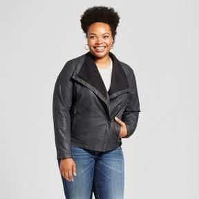 Ava & Viv Women's Plus Rib Knit Faux Leather Jacket Black