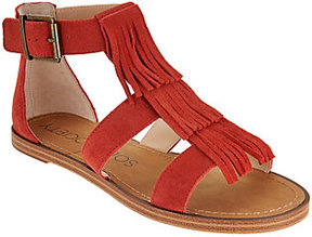Sole Society As Is Suede Fringe Flat Sandals - Fauna