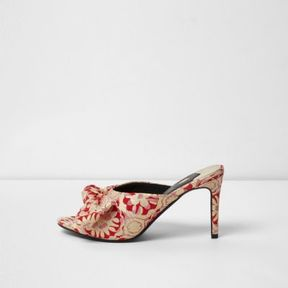River Island Womens Red floral jacquard bow front heeled mules