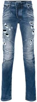 Pierre Balmain distressed biker jeans