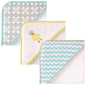 Luvable Friends Aqua & White Hooded Towels - Set of Three