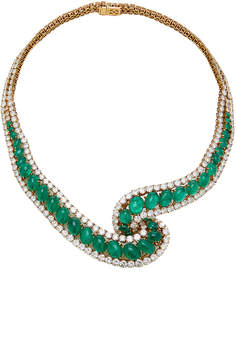 Green Colombian Emerald And Diamond Necklace