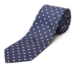 Luciano Barbera Men's Slim Silk Neck Tie Navy Pink White.