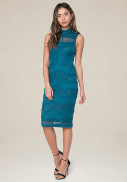 Bebe Lace Illusion Yoke Dress