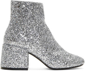 MM6 MAISON MARGIELA Silver Glitter Block Heel Boots