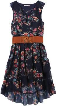 Speechless Girls 7-16 Belted Cross Front Ruffled High Low Dress