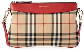 Burberry Peyton Horseferry Check & Leather Clutch. - RED - STYLE