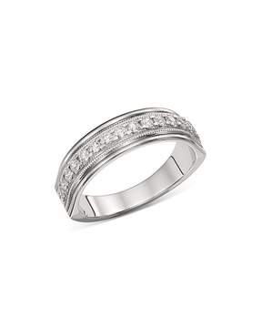 Bloomingdale's Men's Diamond Milgrain Edge Band in 14K White Gold, 0.50 ct. t.w. - 100% Exclusive