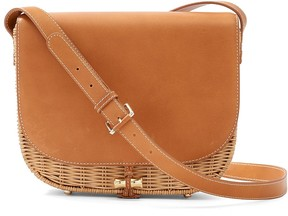 Bernice Leather and Wicker Crossbody Bag