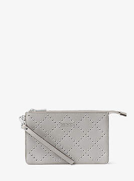 Michael Kors Daniela Grommeted Leather Wristlet - GREY - STYLE