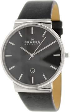 Skagen 'Ancher' Round Leather Strap Watch, 40mm - Black