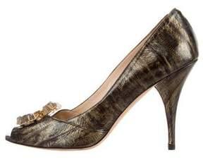 Oscar de la Renta Eel Skin Embellished Pumps